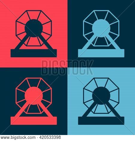 Pop Art Lottery Machine Icon Isolated On Color Background. Lotto Bingo Game Of Luck Concept. Wheel D