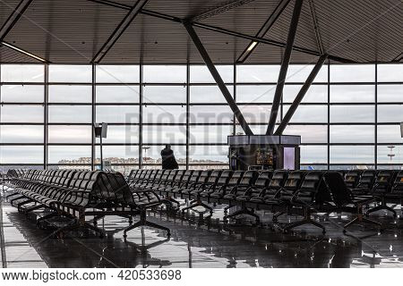 Empty Airport, Social Distancing Stickers On Seats, Russia Moscow Vnukovo 2021-02-28