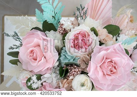 Beautiful Spring Bouquet With Tender Flowers In Box. Roses, Peonies And Hydrangea. Beautiful Flower