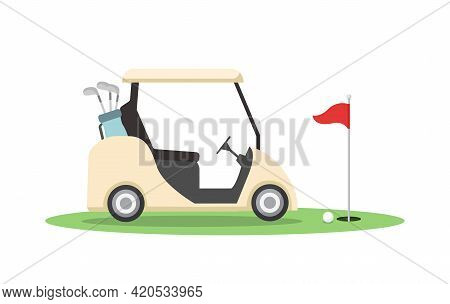 Golf Cart And Red Flag Isolated On White Background.golf Equipment In Flat Style. Vector Stock