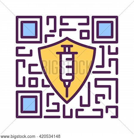 Vaccination Qr Code. Digital Passport And Certificates. Coronavirus Protection. Shield And Syringe.