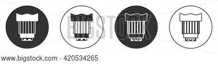 Black Camera Photo Lens Icon Isolated On White Background. Circle Button. Vector