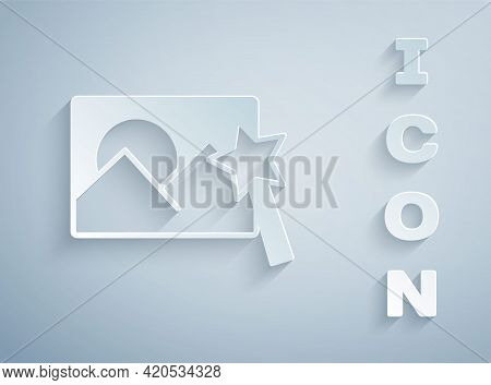 Paper Cut Photo Retouching Icon Isolated On Grey Background. Photographer, Photography, Retouch Icon