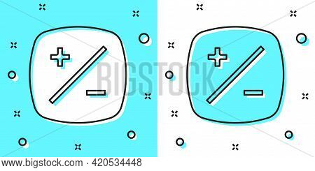 Black Line Exposure Compensation Icon Isolated On Green And White Background. Random Dynamic Shapes.