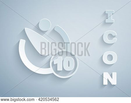 Paper Cut Camera Timer Icon Isolated On Grey Background. Photo Exposure. Stopwatch Timer 10 Seconds.