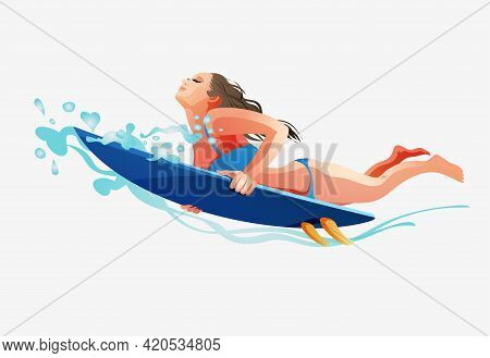 Surfing Girl On The Surf Board Catching Waves In The Sea.a Girl With A Surfboard Dives Under A Wave.