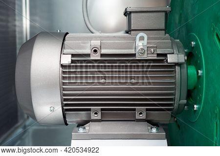 Air Handling Unit Ventilation Machine Motor Exhaust Plenum Electro Motor Close-up