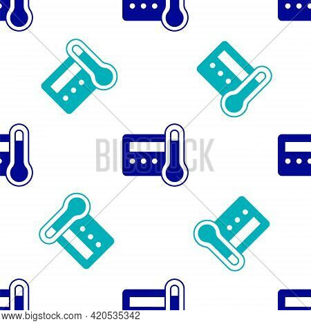 Blue Thermostat Icon Isolated Seamless Pattern On White Background. Temperature Control. Vector