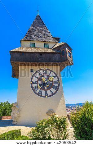 Famous Clock Tower (Uhrturm) in Graz Styria Austria poster