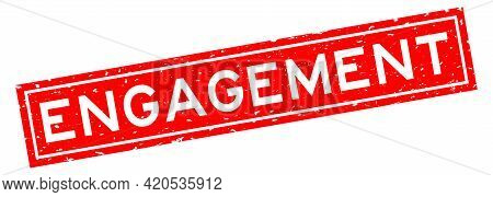 Grunge Red Engagement Word Square Rubber Seal Stamp On White Background