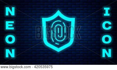Glowing Neon Fingerprint Icon Isolated On Brick Wall Background. Id App Icon. Identification Sign. T