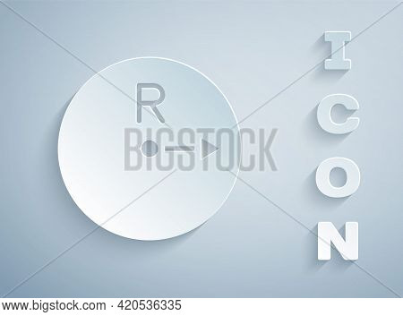Paper Cut Radius Icon Isolated On Grey Background. Paper Art Style. Vector
