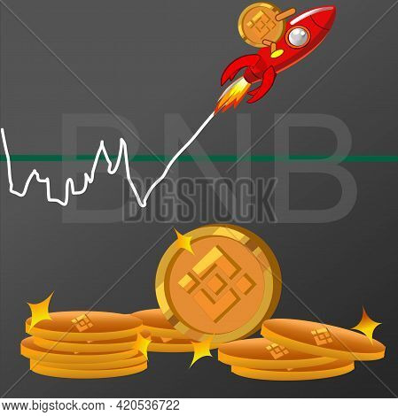 Binance Crypto Currency ,bnb Crypto Art Show High Index Of Graph, Vector Design.