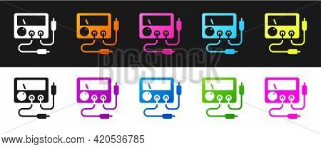 Set Ampere Meter, Multimeter, Voltmeter Icon Isolated On Black And White Background. Instruments For
