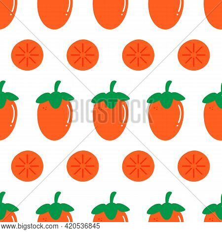 Fresh Orange Persimmon Fruits And Persimmon Slices Vector Seamless Pattern Background.