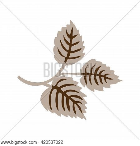 Naive Doodle Neutral Leaf Motif Icon. Cute Rustic Folk Silhouette Illustration Clipart. Decorative D