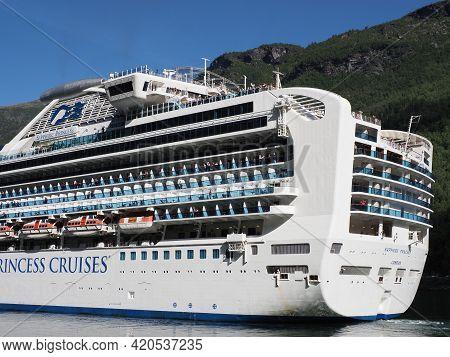 Flam, Norway On July 2019: Back Of White Liner Sapphire Princess Cruises In Sogn Og Fjordane Region