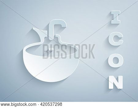 Paper Cut Washbasin Icon Isolated On Grey Background. Barber Washing Chair With Washbasin. Hair Wash