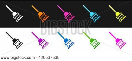 Set Mop Icon Isolated On Black And White Background. Cleaning Service Concept. Vector