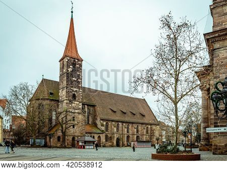 Nuremberg / Germany - December 24 2017: View Of The Church Of St. Jakob (st James The Greater) In Ja