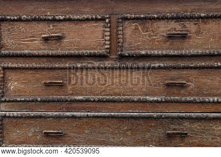 Old Cracked Wooden Surface. Background With Brown Cracks On A Wooden. Soft Focus