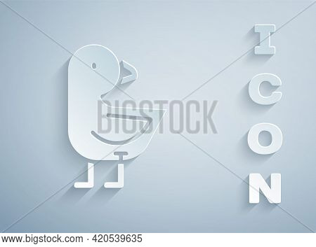 Paper Cut Little Chick Icon Isolated On Grey Background. Paper Art Style. Vector