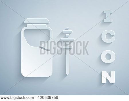 Paper Cut Jar Of Honey And Honey Dipper Stick Icon Isolated On Grey Background. Food Bank. Sweet Nat