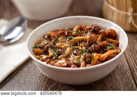 Mushrooms In A Bowl. High Quality Photo.