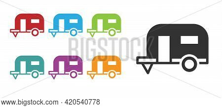 Black Rv Camping Trailer Icon Isolated On White Background. Travel Mobile Home, Caravan, Home Camper