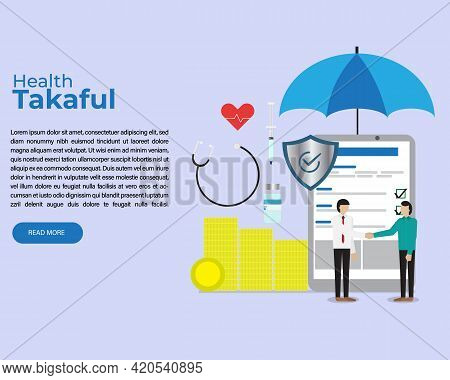 A Vector Of Health Takaful Concept. Tablet For Online Sign Up And Shield Symbol As Your Protected. M