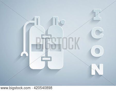 Paper Cut Aqualung Icon Isolated On Grey Background. Oxygen Tank For Diver. Diving Equipment. Extrem