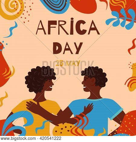 25 May Africa Day Vector Banner. Llustration With Abstract Elements In Traditional Colors For Africa