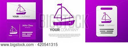 Logotype Yacht Sailboat Or Sailing Ship Icon Isolated On White Background. Sail Boat Marine Cruise T
