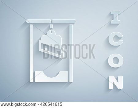 Paper Cut Guillotine Medieval Execution Icon Isolated On Grey Background. Paper Art Style. Vector