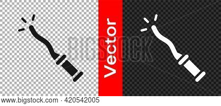 Black Magic Wand Icon Isolated On Transparent Background. Star Shape Magic Accessory. Magical Power.