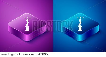 Isometric Magic Wand Icon Isolated On Blue And Purple Background. Star Shape Magic Accessory. Magica