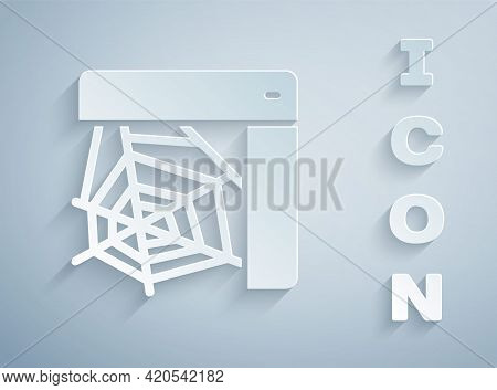 Paper Cut Spider Web Icon Isolated On Grey Background. Cobweb Sign. Happy Halloween Party. Paper Art