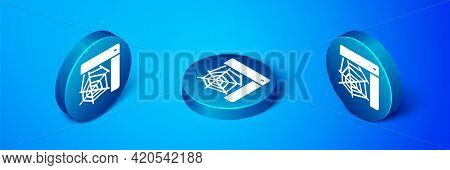 Isometric Spider Web Icon Isolated On Blue Background. Cobweb Sign. Happy Halloween Party. Blue Circ