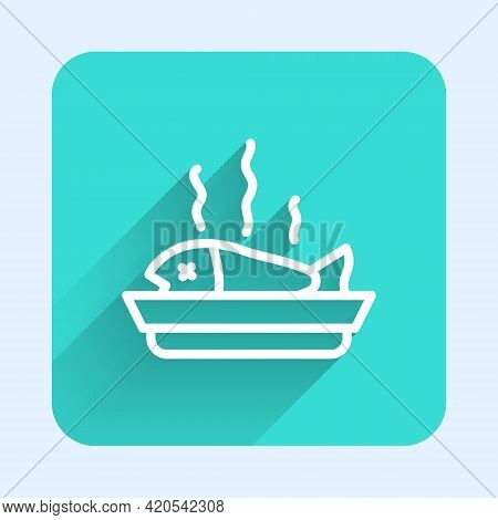 White Line Served Fish On A Plate Icon Isolated With Long Shadow. Green Square Button. Vector