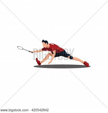 Sport Man Badminton Stretching Hardly To Receive The Shuttlecock From The Opponent - Badminton Athle