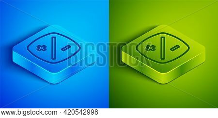 Isometric Line Exposure Compensation Icon Isolated On Blue And Green Background. Square Button. Vect