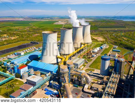 Coal power plant Tusimice in Northern Bohemia, Czech Republic. Aerial view to big source of emissions in European Union.