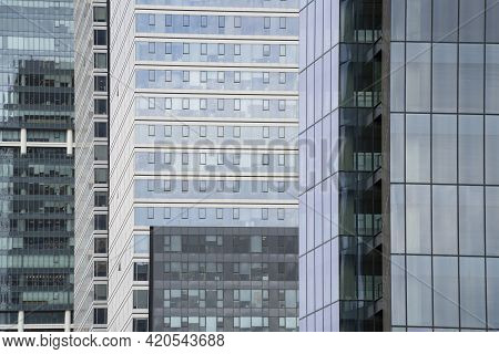 Steel, Glass And Concrete Used As Building Materials For Modern Buildings In Tel Aviv, Israel