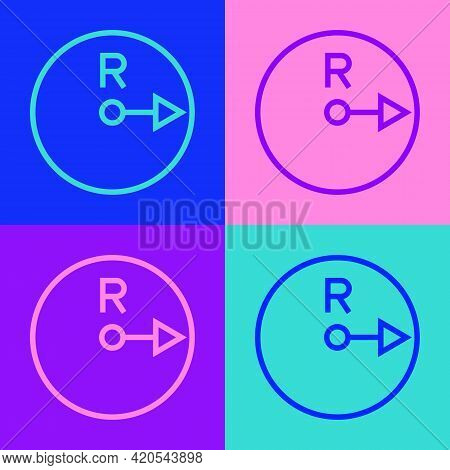 Pop Art Line Radius Icon Isolated On Color Background. Vector