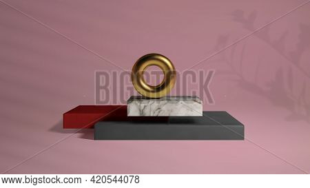 Abstract Gold Torus On Luxury Mock Up Stage. Platform Vector 3d Render Podium On Pink Background In