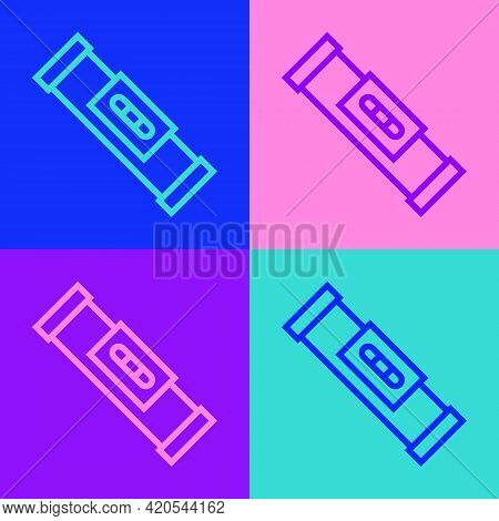 Pop Art Line Construction Bubble Level Icon Isolated On Color Background. Waterpas, Measuring Instru