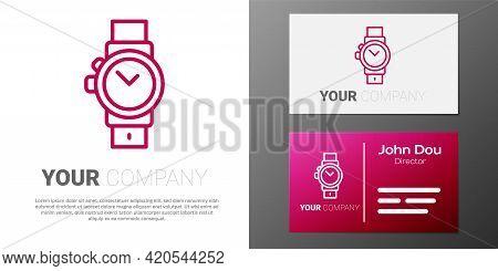 Logotype Line Wrist Watch Icon Isolated On White Background. Wristwatch Icon. Logo Design Template E