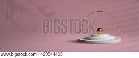 Podium With Gold Frame On Pink Background. 3d Golden Sphere Vector. Award Winner Platform Studio 3d