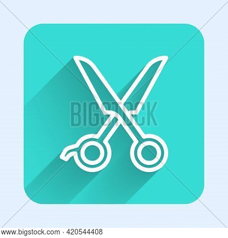 White Line Scissors Hairdresser Icon Isolated With Long Shadow. Hairdresser, Fashion Salon And Barbe