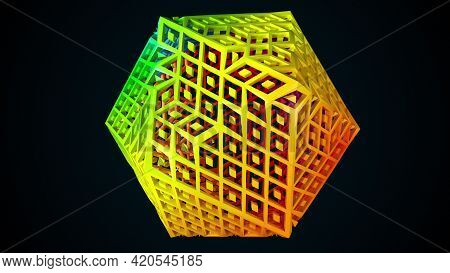 Geometric 3d Render Lattice Polygon With Pyramidal Elements With Face Reshaping Tracery. Energetic M
